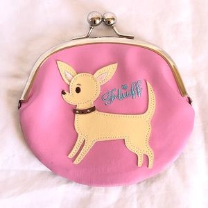 Fluff Chihuahua Kiss Lock Coin Purse Pink and Gold